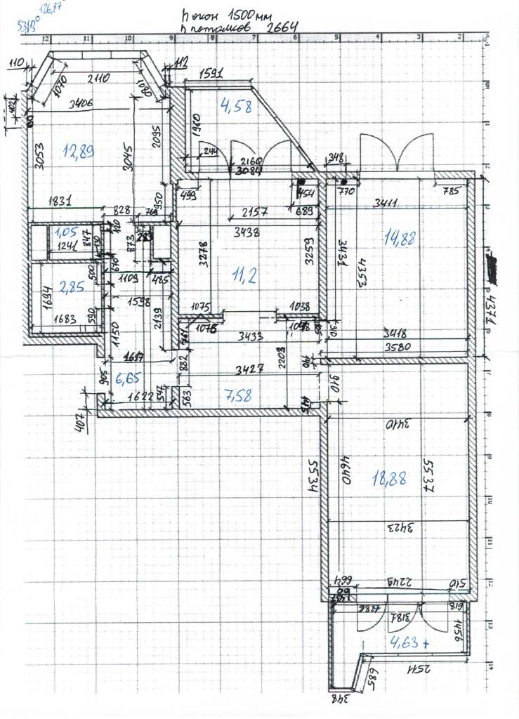 размеры трехкомнатной квартиры в доме серии П-44т (распашенка)