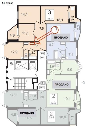 второй вентиляционный короб в 3-х комнатной квартире П-44т