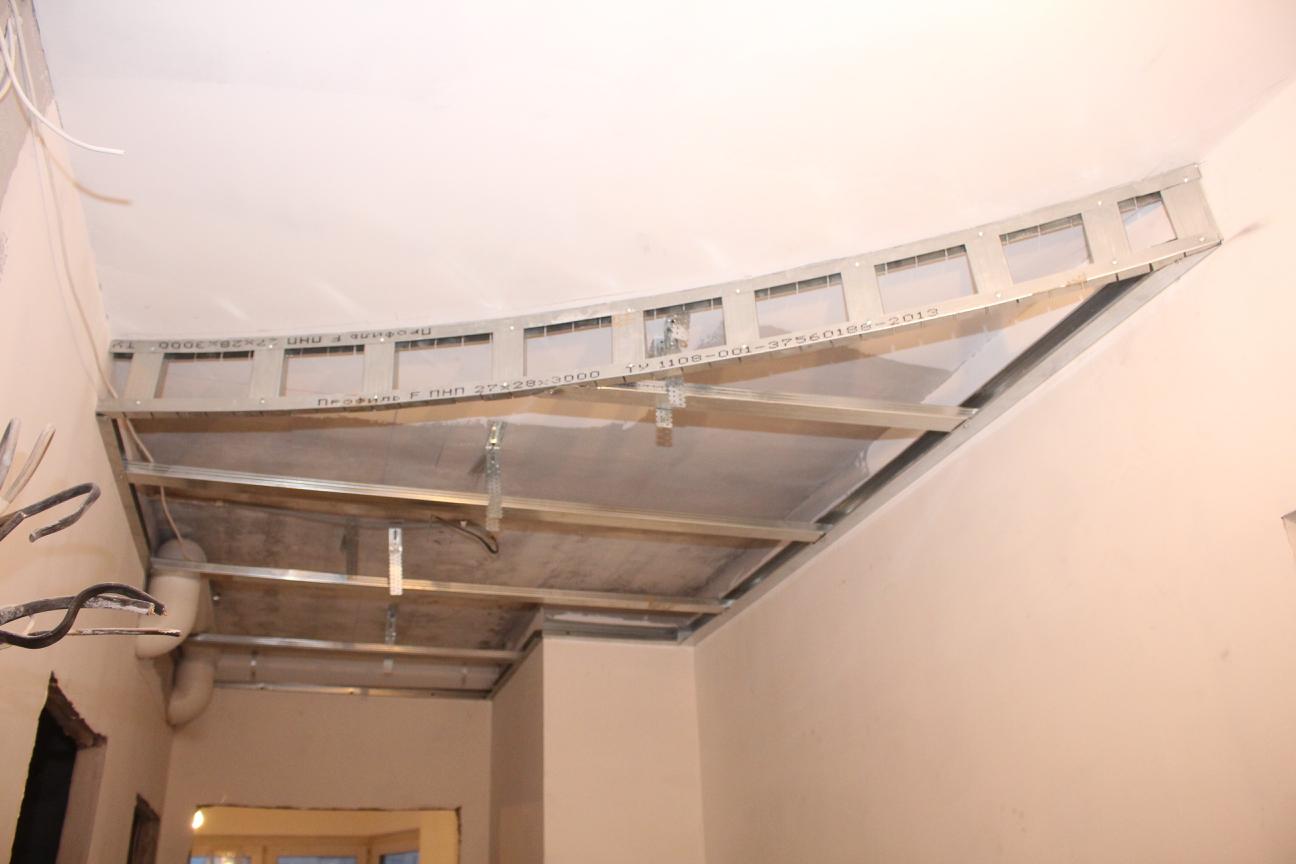 Каркас на потолке из гипсокартона своими руками