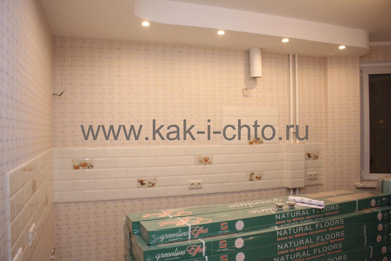 фартук на кухне из плитки с декорами