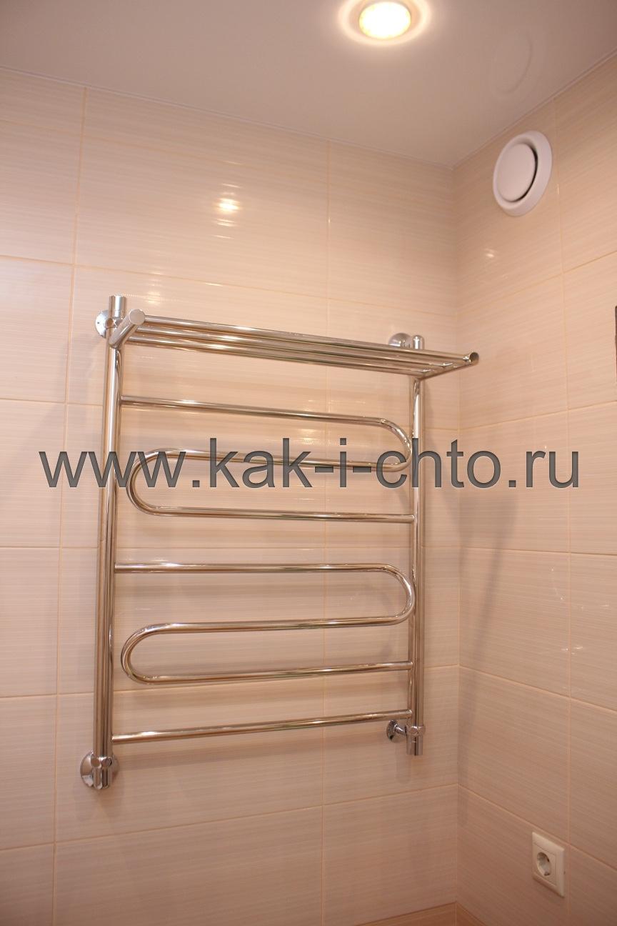 Полотенцесушитель и вывод вентиляции в ванной комнате