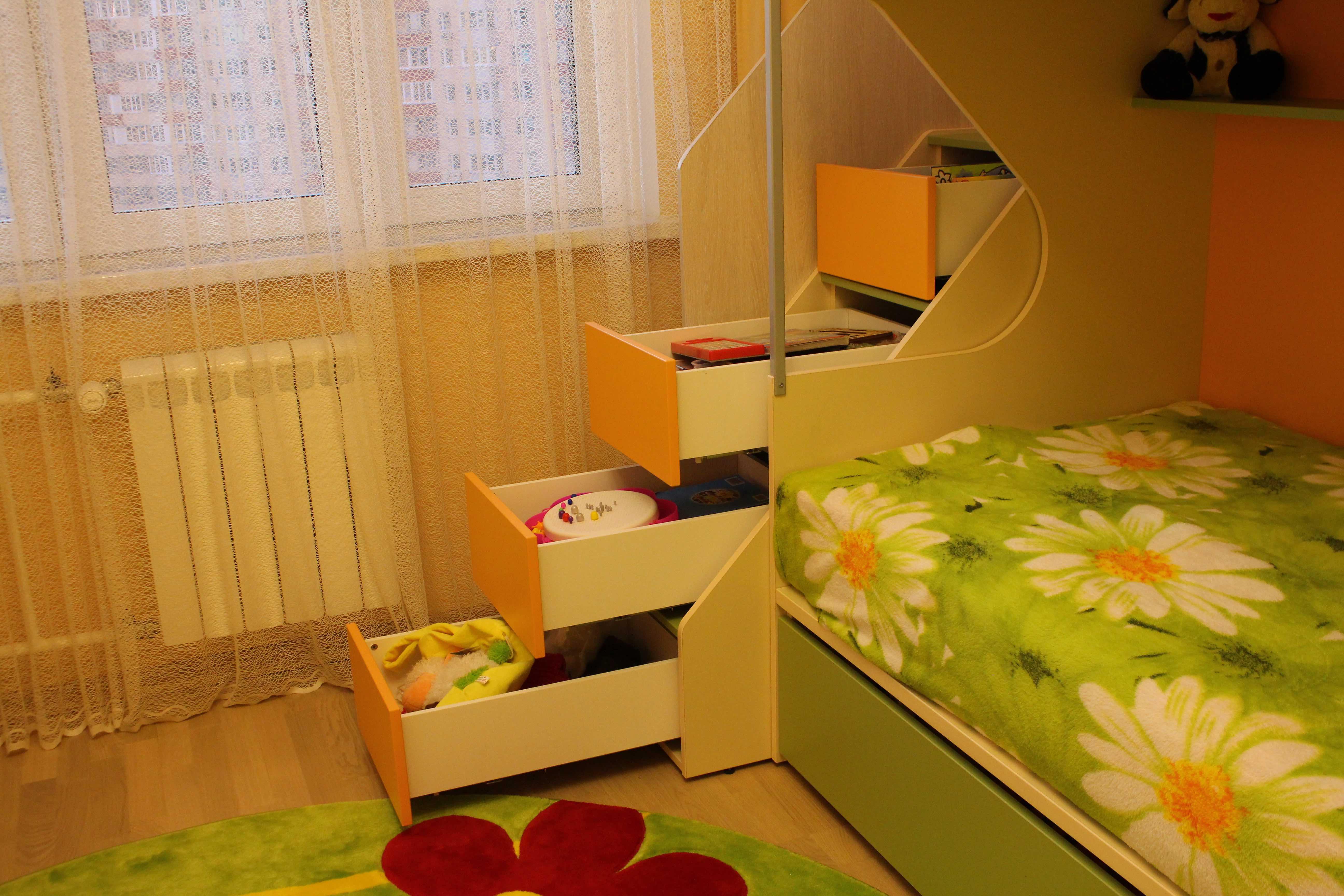 Детская мебель в интерьере - серия Силуэт Софтформ ящики внутри ступенек